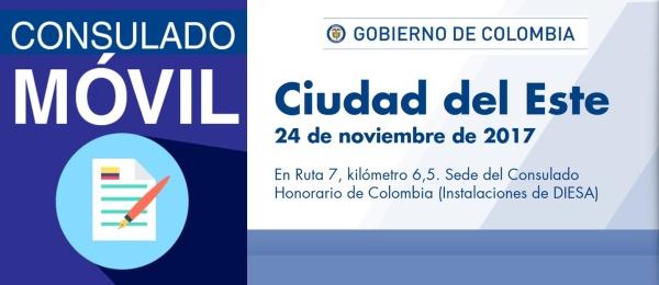 El Consulado de Colombia en Asunción realizará Consulado Móvil en Ciudad del Este, el 24 de noviembre de 2017