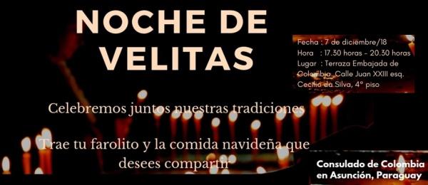 Con el mensaje de celebrar juntos nuestras tradiciones, Consulado de Colombia en Asunción invita a la Noche de Velitas este 7 de diciembre de 2018
