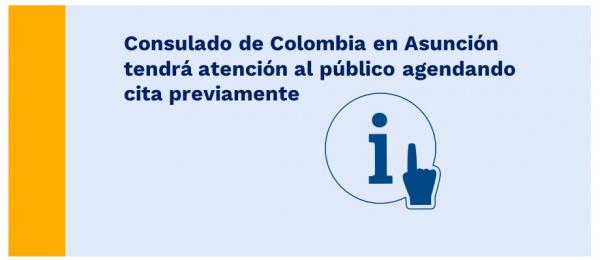Consulado de Colombia en Asunción tendrá atención al público agendando cita